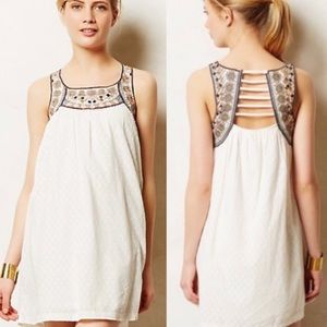 Anthropologie Lilka Embroidered Cotton Tunic Dress